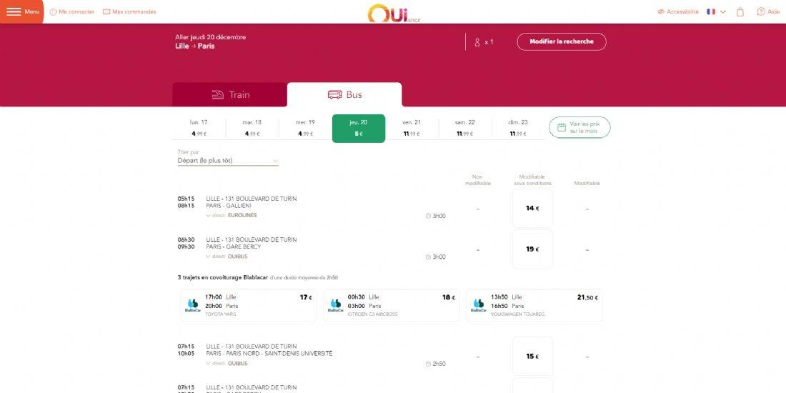 Les offres de covoiturage BlaBlaCar intégrées à OUI.sncf