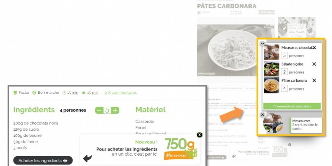 '750g Mes Courses': nouveau service de mise en panier depuis un site de recettes